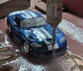 Testing the Waterjet on a 1:18 die cast Dodge Viper to proove that we can cut just about anything