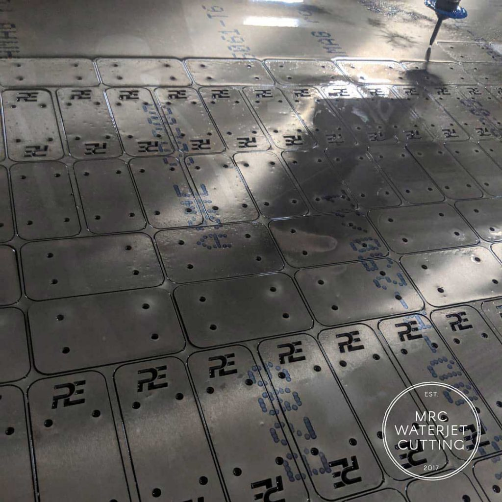 Late night cutting pedal faces for Perusic Engineering. We do all the waterjet cutting of the V14 competition pedal boxes.