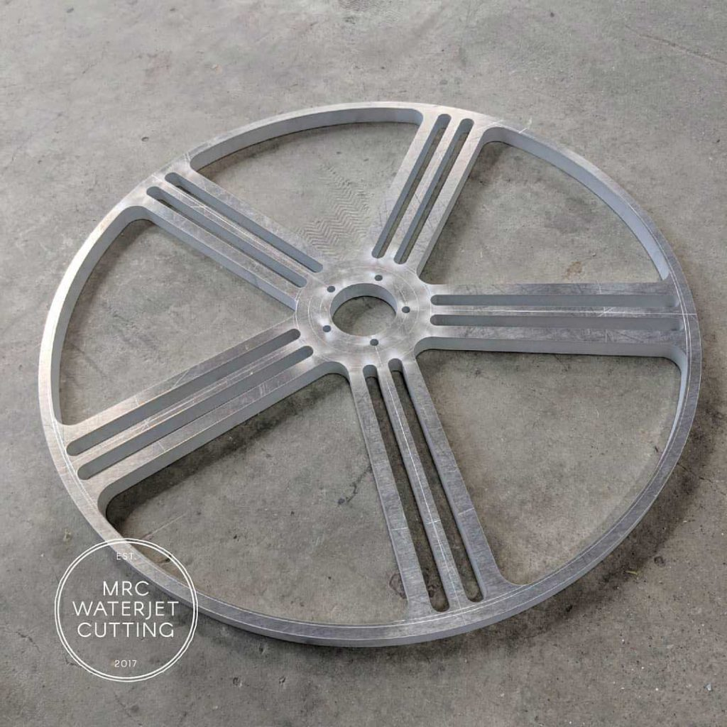 Custom Wheel Centre Waterjet based on a customer provided drawing