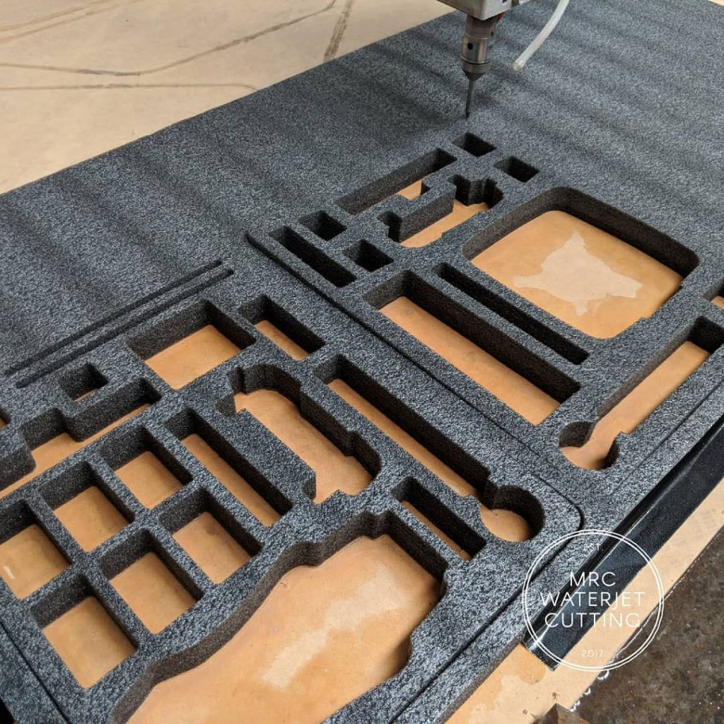 Foam Waterjet Cut as custom protection for drone during transportation