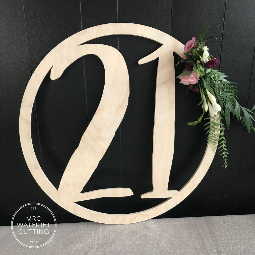 Plywood Waterjet Signage for a 21st Birthday